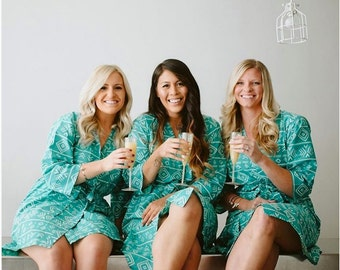 Teal Aztec Bridesmaids Robes Sets Kimono Crossover Robe Wrap bridesmaids gifts, getting ready robes, Bridal shower favors Geometric Robes