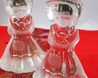 Viking Glass Country Girls Bookends, Amish Country Decor