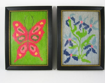 Mod Pair of Framed Embroidery