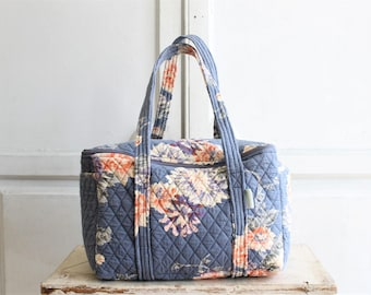 vintage quilted bag | floral tote | quilted duffle