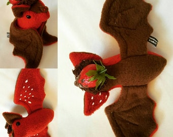 Chocolate covered strawberry bat with strawberry Hat - Kawaii plush plushie valentine gift chocolates