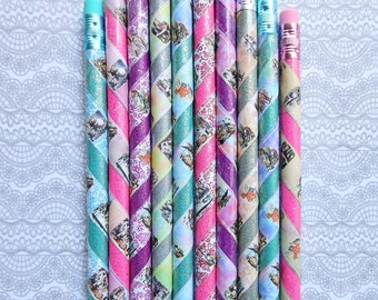 10 Alice in Wonderland Glittery PENCILS for PARTY FAVORS Alice in Wonderland novelties party goods goodie bag stuffers goody bag items prize