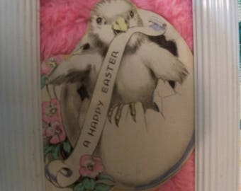 my pink furry homemade old Easter card framed