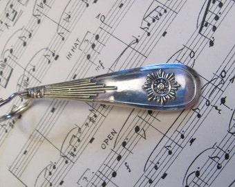 Key Fob Antique Ornate Silver Plate Silverware Key Chain -  Rare Pattern (01)