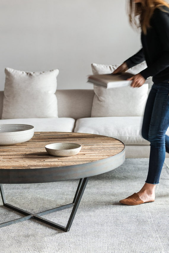 reclaimed wood round coffee table patchwork design