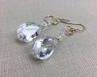 Rock Crystal Quartz Earrings in Gold