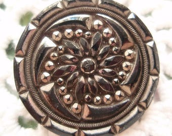 Antique Steel Cut Metal Button Larger Black Glass and Metal Vintage Charm