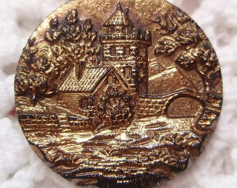 Antique Black Glass Button with Village Scene Pictorial Castle Old Mill Bridge Gold Copper Wash Victorian Vintage Clothing