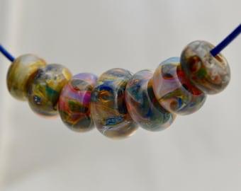 Boro Lampwork Glass Donut Beads Handmade  Orphans #4