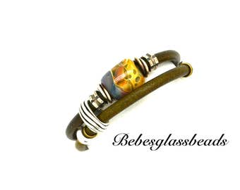 Bebe's Boro Beads Wrapped Leather Olive Green Bracelet Sterling Silver Magnetic Clasp Medium