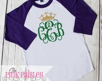 Girls Monogrammed Mardi Gras Shirt | Girls Raglan Shirt | Monogrammed Raglan