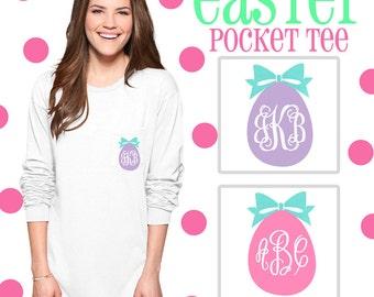 Long or Short Sleeve Monogrammed Easter Egg Pocket Tee Shirt   Easter Tshirt   Easter Egg Hunt  Easter Basket   Easter Gift