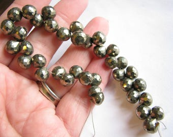 Pyrite faceted onion briolettes, candy kiss shape beads, 6.5 inch strand, 7-8mm (w102)