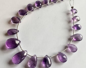 Purple Amethyst faceted pear briolettes, 7.5 inch strand, 18 beads 9-17.5mm (w124b)