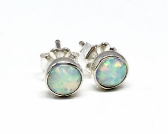 White Opal Stud Earrings - Sterling Silver- Gifts for Women - Mothers day gift - Tiny opal studs