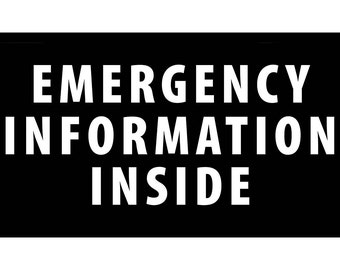 Emergency Information Inside Rectangle Sew-On Patch (Choose Size)