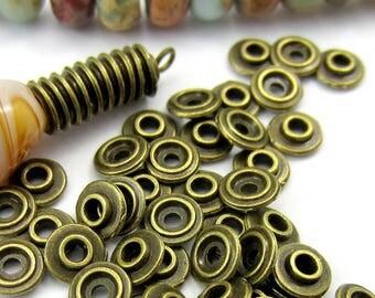 50 Bronze Spacer beads flat rounds interlocking no lead no nickel 6mm x 2mm HP-R340(Z7),