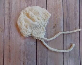 Newborn Baby Hat, Off White Baby Hat, Earflap Beanie, Winter Hat