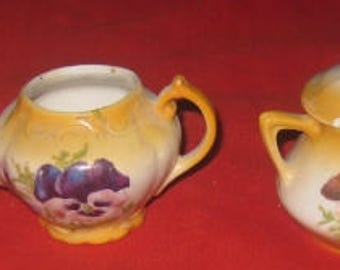 Lovely Antique Toy Dishes, Various Pieces, Pansy Design, Germany
