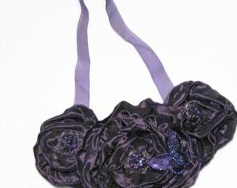 Bib Statement Necklace Purple Floral Satin Roses