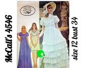 """70s Empire Waist Dress, McCall's 4546, Size 12 bust 34"""", Short and Long Dress, Puff Sleeves, Ruffled Dress, Laura Ashley, High Waist"""