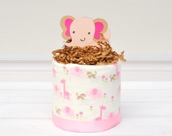 Pink Elephant Baby Shower, Elephant Baby Shower Centerpiece, Elephant Diaper Cake, Girl Elephant Baby Gift, Elephant Baby Shower Ideas