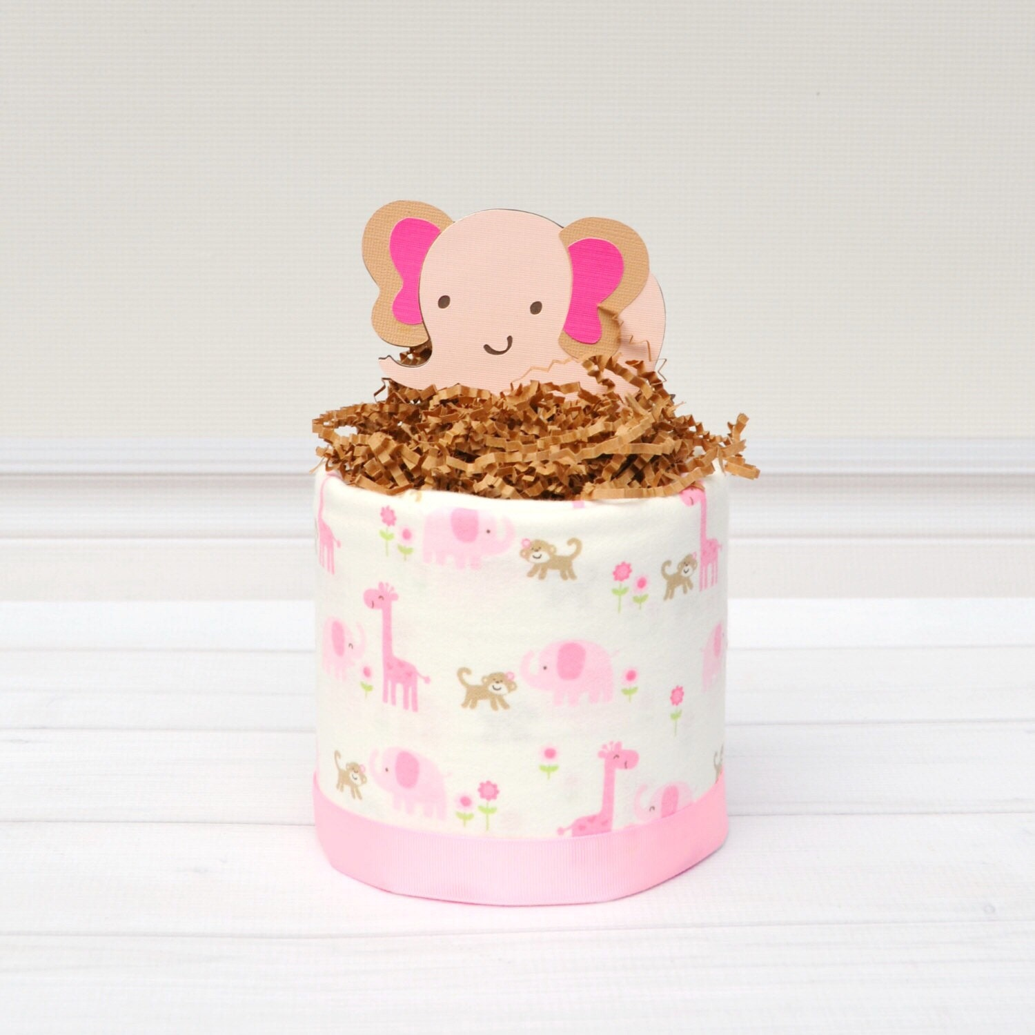 Just Had A Baby Gift Ideas : Pink elephant baby shower centerpiece