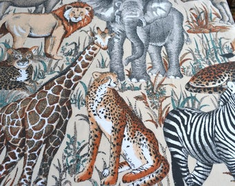 Vintage Bed Sheet - African Animals  - Full Flat