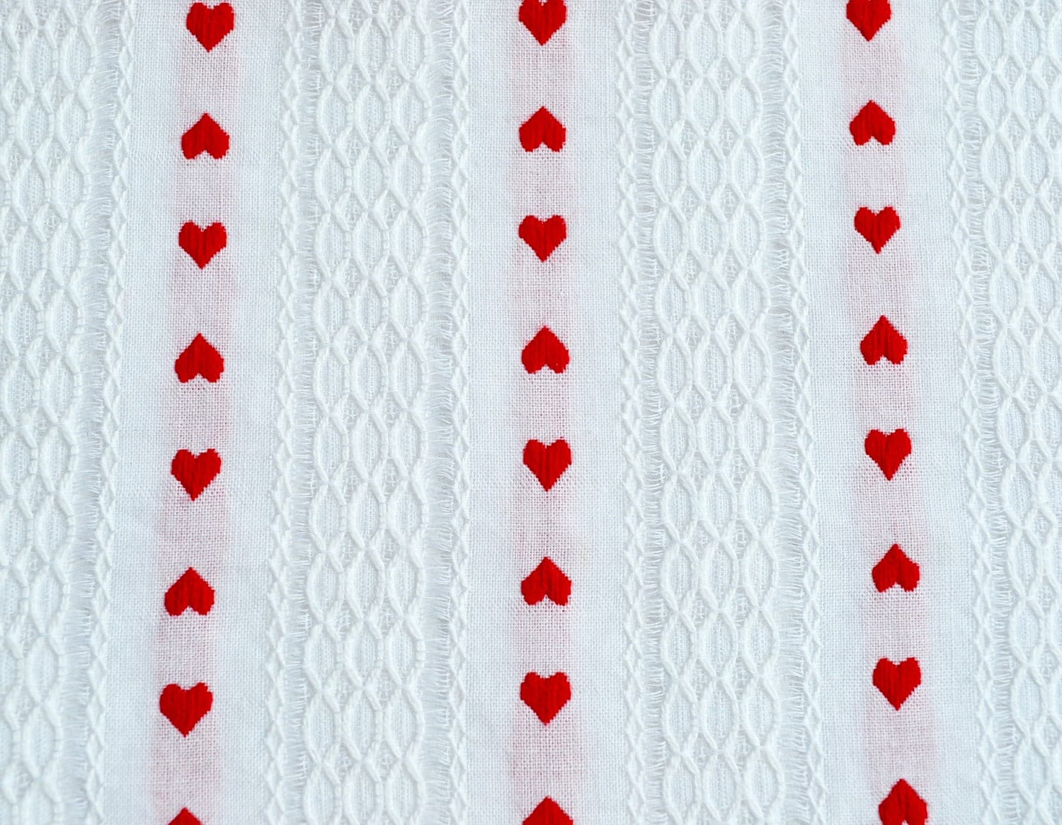 Vintage Fabric Embroidered Red Heart Curtain Fabric