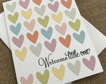 Welcome Little One - Handmade Baby Pregnancy Greeting Card