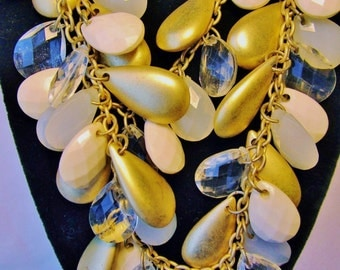 Vintage New York Signed Gold Teardrop Clustered Dangling Beads Double Stranded BIb Waterfall Necklace Choker Retro Art Deco Runway Statement