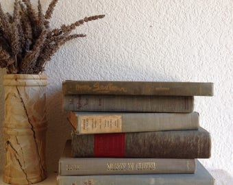 vintage beach house gray grey midtones book set interior decor decorative