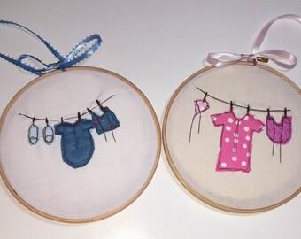 Textile Hoop Art, Wall Art, Baby's clothes line, embroidery Hoop Art, boy or girl hoop, pink, blue, shower gift, nursery art