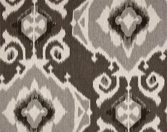 Pair of designer curtain panels drapes, Magnolia Delhi graphite grey