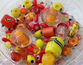 Destash Beads, Orange and Yellow Bead Mix, Yellow Glass Beads, Orange Bead Destash, 40g Mixed Lot of Loose Beads, Bead Soup #9