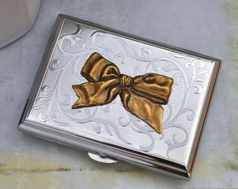 vintage style ribbon bow business card case in silver, steel money case, antiqued brass bow, Victorian bow card case, accessories for women