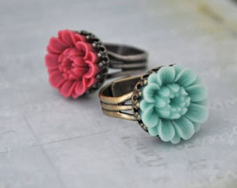 THE SUNFLOWER, cute resin cab flowers ring in antique brass or antique silver