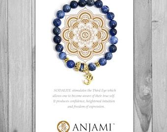 SODALITE,Mala Bracelet,Beaded Bracelet,Gemstone Bracelet,Yoga Jewelry,Inspirational Jewelry,Healing Jewelry, Gift for Her