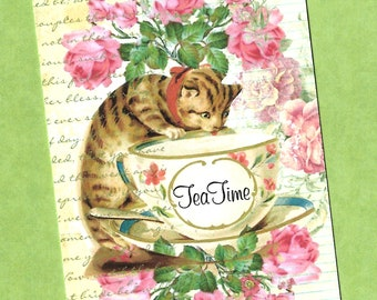 Tags, Sweet Kitten, Tea Time, Cat Lover, Party Favors, Gift Tags