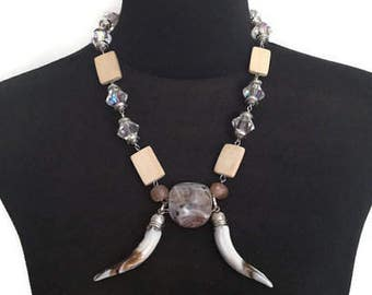 ON SALE Trendy Earthy Neutrals Double Horn Modern Tribal Necklace with Wood and Crystals in Beige, Clear, Brown, Taupe