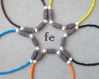 Little Surfer Boys Time to hit the BEACH Teen Boy Orange / Blue Beaded Modern Tribal Beach Necklace Gift for Boys Gift for Toddler