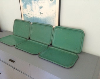 Set of Six Vintage Turquoise Green Painted Industrial Shabby Metal Trays