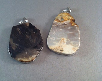 Two Organic Polished Stone Pendants, Stone Pendants, Rock Pendants, Rock Jewelry, Sculptured Stone Jewelry, Natural Stone, *USA ONLY*