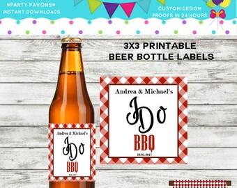 Engagement I Do BBQ Beer Bottle Labels, DIY Printable
