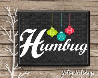 Christmas Art Print, BAH HUMBUG, mid century modern, holiday wall art, anti Christmas, Christmas typography, Christmas foyer art, Scrooge