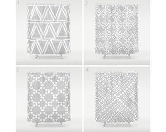 Silver Grey Shower Curtain - Geometric Shower Curtain - Modern Curtain - White Shower Curtain - Triangle Shower Curtain - Grey and White