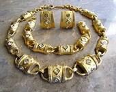 """Vintage 1991 Joan Collins """"Barrel-Link"""" Set Necklace Bracelet & Earrings"""