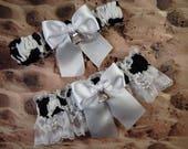 Farm Cow Print White Satin White Lace Cow Bell Charm Wedding Bridal Garter Toss Set