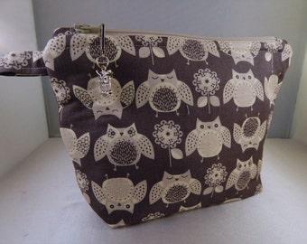 Owl Brown Ivory print fabric Makeup Bag Cosmetic Travel Bag Organizer Bag Cute