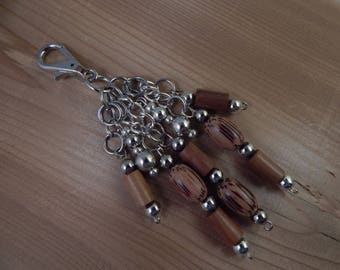 Purse Zipper Charm Beaded Brown Wood Look Silver work lanyard Handbag Identification tag key ring